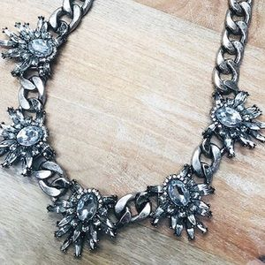 Heavy Metal Crystal Statement Necklace,NWT